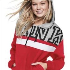 PINK Victoria Secret's Red Grey Logo Hoodie Rare